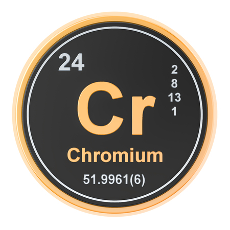 Chromium Cr chemical element. 3D rendering isolated on white background