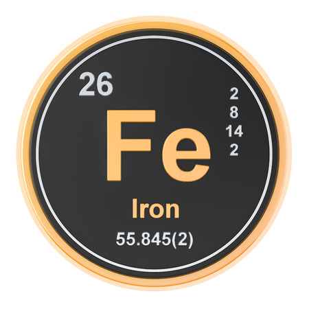 Ferrum, iron Fe chemical element. 3D rendering isolated on white background