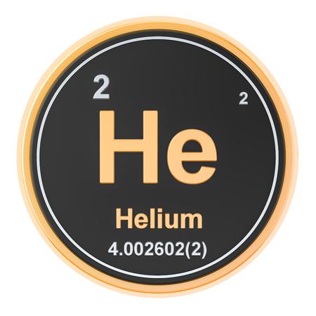 Hélium He élément chimique. rendu 3D isolé sur fond blanc