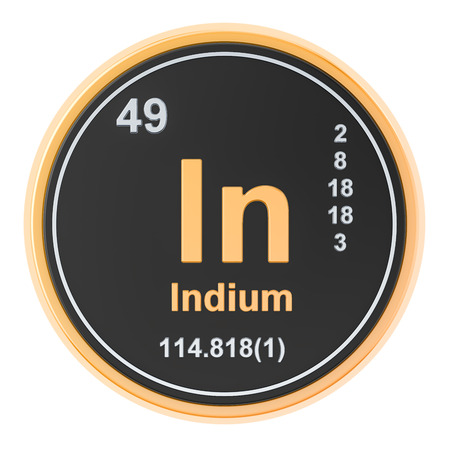 Indium In chemical element. 3D rendering isolated on white background
