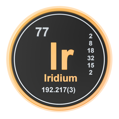 Iridium Ir chemical element. 3D rendering isolated on white background
