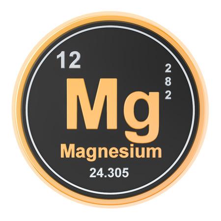 Magnesio, elemento chimico Mg. Rendering 3D isolato su sfondo bianco