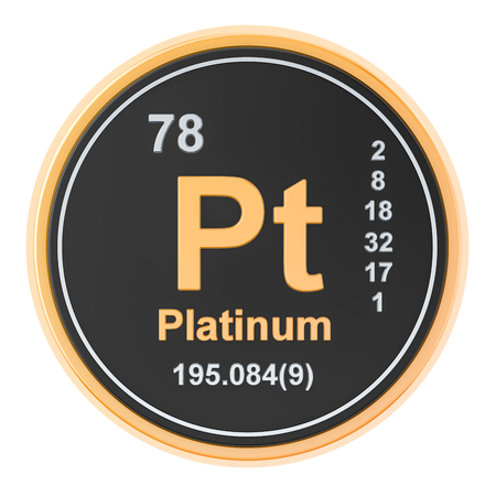 Platinum Pt chemical element. 3D rendering isolated on white background Stock fotó