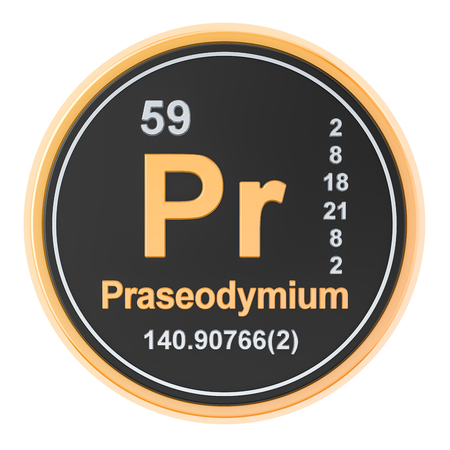 Praseodymium Pr chemical element. 3D rendering isolated on white background Banco de Imagens