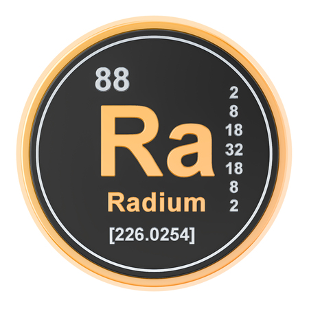 Radium Ra chemical element. 3D rendering isolated on white background
