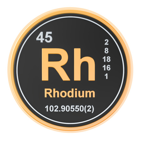 Rhodium Rh chemical element, 3D rendering isolated on white background Stock Photo