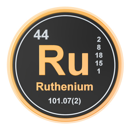 Ruthenium Ru chemical element. 3D rendering isolated on white background Banco de Imagens