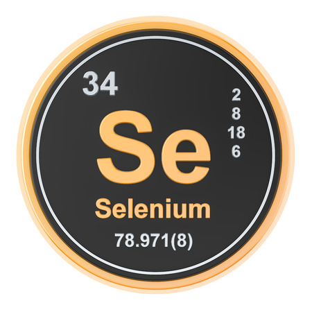 Selenium Se chemical element. 3D rendering isolated on white background