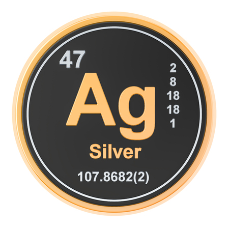 Silver Ag chemical element. 3D rendering isolated on white background