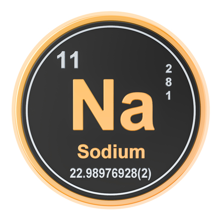 Sodium Na chemical element. 3D rendering isolated on white background Фото со стока
