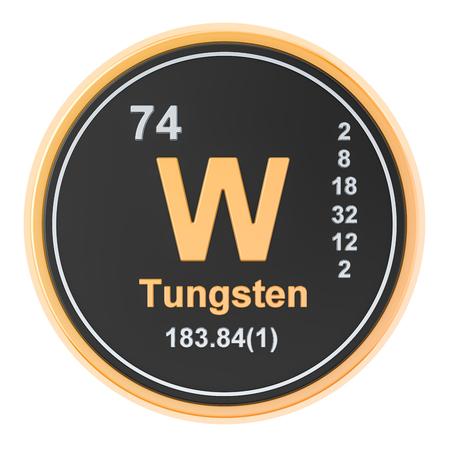Tungstène W, élément chimique du wolfram. rendu 3D isolé sur fond blanc
