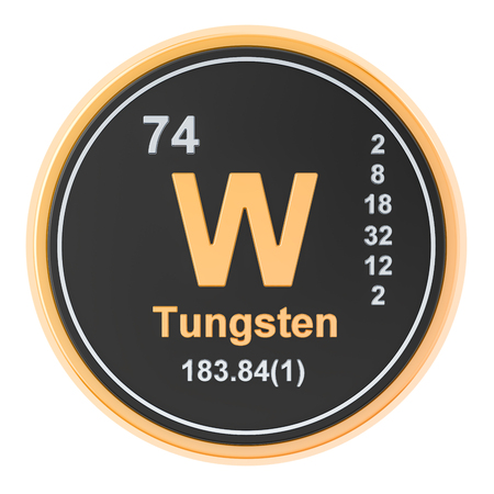 Tungsten W, wolfram chemical element. 3D rendering isolated on white background