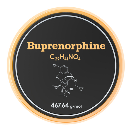 Buprenorphine. Chemical formula, molecular structure. 3D rendering isolated on white background