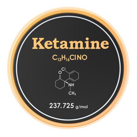 Ketamine. Chemical formula, molecular structure. 3D rendering isolated on white background Banco de Imagens