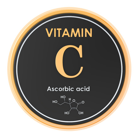 Vitamin C, ascorbic acid. Circle icon, chemical formula, molecular structure. 3D rendering Archivio Fotografico