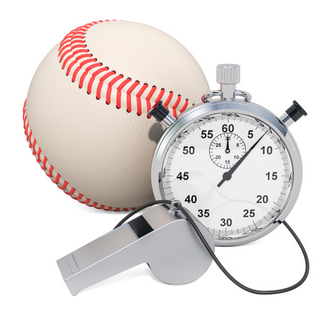 Baseball ball with whistle and stopwatch, 3D rendering isolated on white background