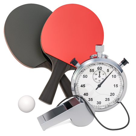 Table tennis equipment with whistle and stopwatch, 3D rendering isolated on white background Imagens