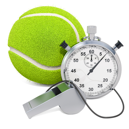 Tennis ball with whistle and stopwatch, 3D rendering isolated on white background
