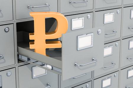 Simbolo del rublo nello schedario, rendering 3D