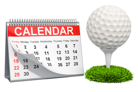 Golf ball with calendar, golf events calendar concept. 3D rendering isolated on white background