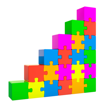 Ladder from colored puzzle. Business success concept, 3D rendering