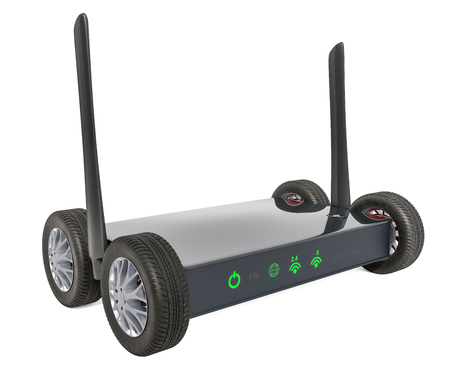 Wireless internet router with car wheels, 3D rendering isolated on white background