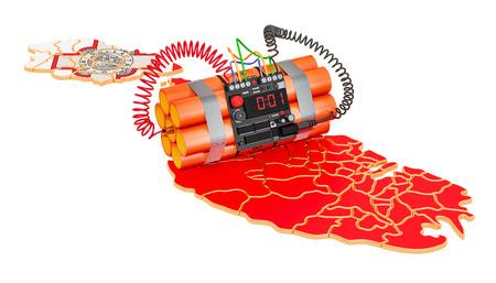 Ataques terroristas en concepto de Malta. Representación 3D aislada en el fondo blanco