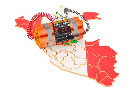 Ataques terroristas en el concepto de Perú. Representación 3D aislada en el fondo blanco