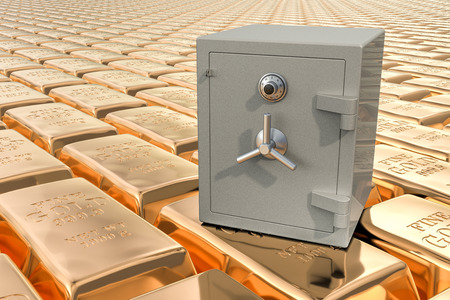 Combination Safe Box on the golden ingots backdrop, 3D rendering 版權商用圖片