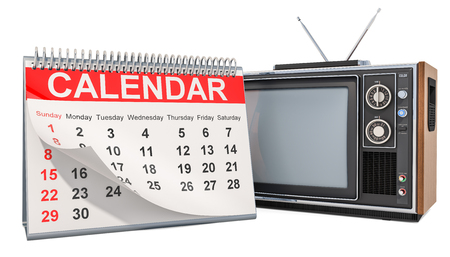 Desk Calendar with TV set, 3D rendering isolated on white background Stock Photo