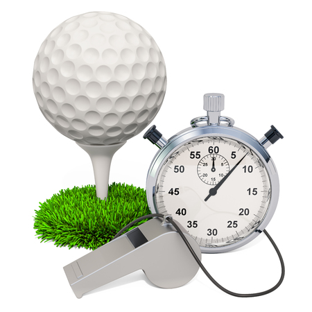 Golf ball with whistle and stopwatch, 3D rendering isolated on white background