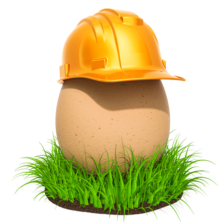 Egg with construction hardhat in the green grass, 3D rendering isolated on white background