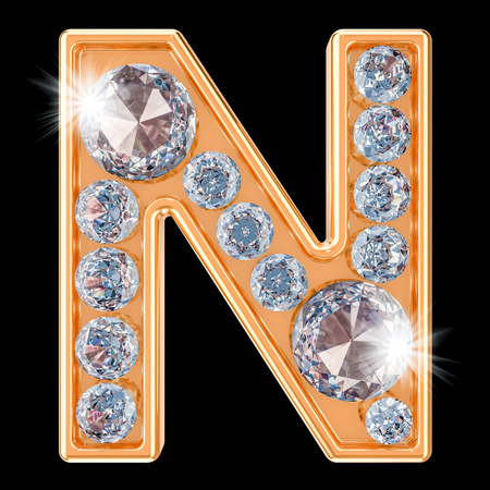 Golden letter N with diamonds. 3D rendering isolated on black background Stock fotó
