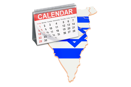 Desk calendar on the map of Israel. 3D rendering Stock Photo