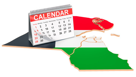 Desk calendar on the map of Kuwait. 3D rendering