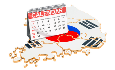 Desk calendar on the map of South Korea. 3D rendering