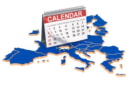 Desk calendar on the map of the European Union. 3D rendering