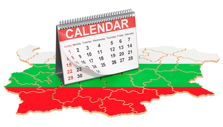 Desk calendar on the map of Bulgaria. 3D rendering Imagens