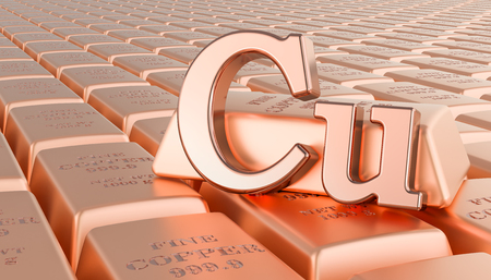 Copper ingots background with Cu symbol. 3D rendering