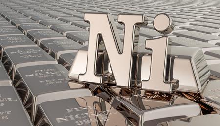 Fondo de lingotes de níquel con símbolo de Ni. Representación 3D