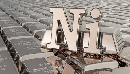 Nickel ingots background with Ni symbol. 3D rendering Stok Fotoğraf