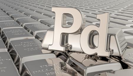 Fond de lingots de palladium avec symbole Pd. rendu 3D Banque d'images