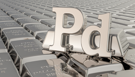 Palladium ingots background with Pd symbol. 3D rendering