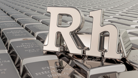 Rhodium ingots background with Rh symbol. 3D rendering