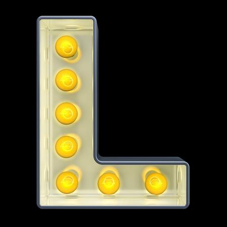 Glühbirne Buchstabe L, retro leuchtende Schrift. 3D-Rendering auf schwarzem Hintergrund isoliert