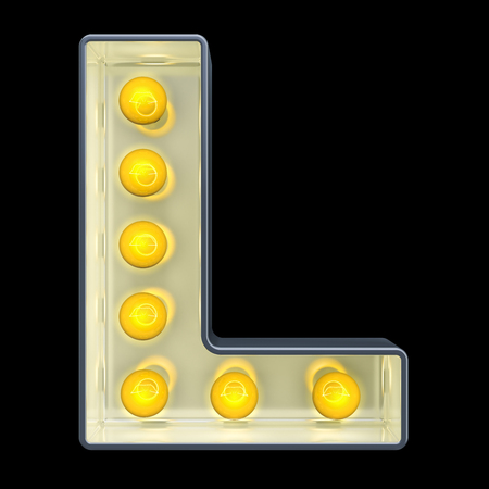 Light bulb letter L, retro glowing font. 3D rendering isolated on black background