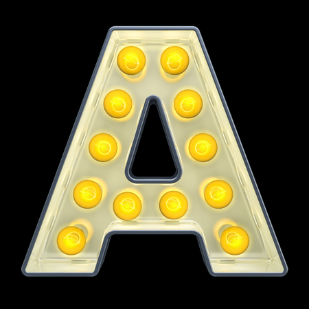 Light bulb letter A, retro glowing font. 3D rendering isolated on black background Stock fotó