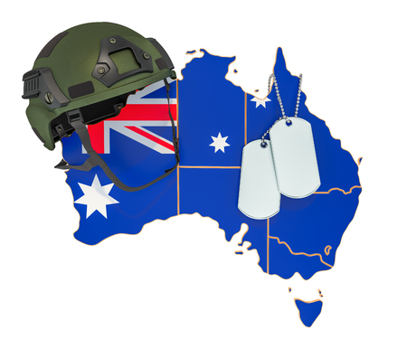 Australian military force, army or war concept. 3D rendering isolated on white background
