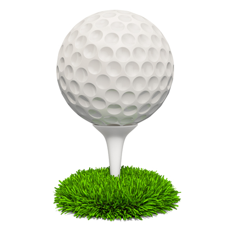 Golf ball on the stand in the grass, 3D rendering isolated on white background
