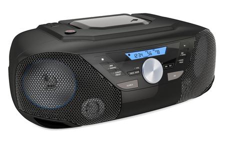 Boombox CD moderno con radio estéreo AM / FM, representación 3D aislada en el fondo blanco Foto de archivo